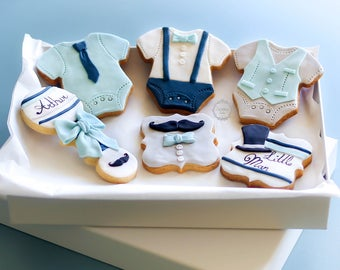 Little Man Decorated Cookies - Baby Boy Gift - Mum to Be Gift - Baby Shower Biscuits - Onsie cookies - Top Hat and Moustache biscuits