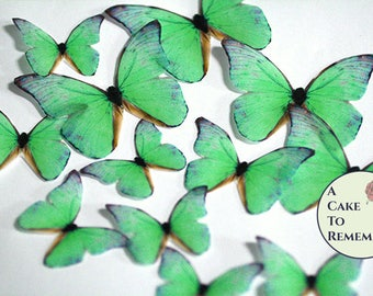 Green edible butterflies, 12 wafer paper butterflies for wedding cake toppers. Butterflies for cake decorating and cupcake decorating.