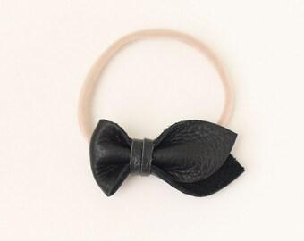 Black Tulip Bow Headband