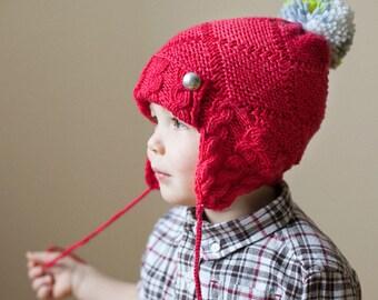 Kid's Knit Hat / Toddler Winter Hat / Red Knit Beanie / Knit Cap / Children's Hat / Wool Merino Hat / Pompon Hat