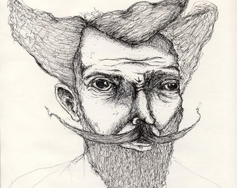 Mustache Beard Movember Drawing 10x10 Square Funny Hair Man Portrait illustration giclee print kitsch