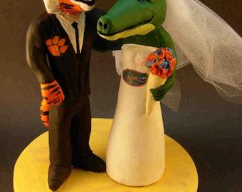 Clemson Tiger Groom Marries Florida Gator Bride, Alligator Bride Wedding Cake Topper, Clemson University Wedding Cake Topper
