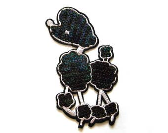 Embroidered Extra Large Poodle Appliqué Sequins 6 Inches