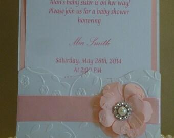 Invitación de babyshower - en relieve invitación, hecha a mano de quinceañera, dulce dieciséis