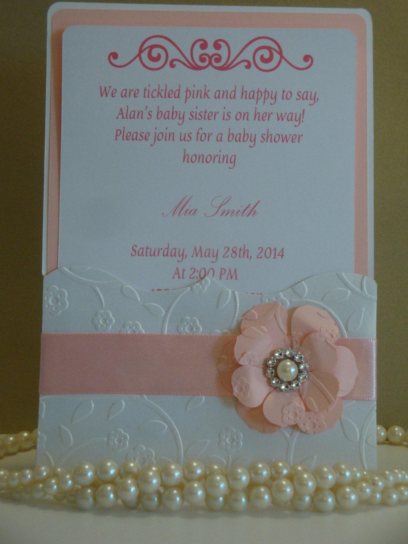 Babyshower invitation embossed invitation handmade