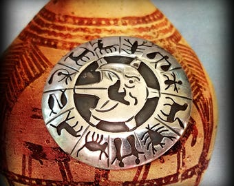 Signed Sterling Sun Moon Zodiac Pin Pendant