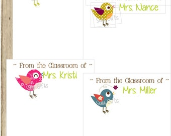 2- Printable Notepad Notes for Teacher Personalized Bird ~ Birdie Notepads perfect for appreciation gifts ~ holiday gift giving Christmas