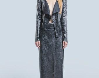 Black Eco Leather Long Skirt, Leather Skirt, Maxi Skirt, Unique Skirt, Black Skirt, Long Skirt, Simple Skirt, Modern skirt, Milanese Baroque