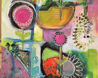 Gorgeous Garden Abstract Mixed Media on Watercolor Paper