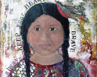 Brave Heart, 5x7 notecard of original mixed-media collage