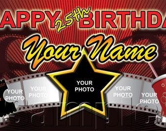 Personalized Large 2x4 Hollywood / Movie Birthday Party Banner