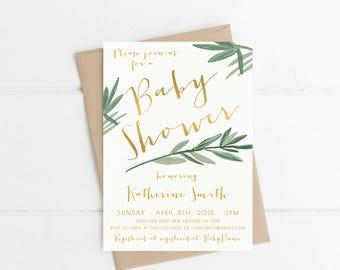 Baby Shower Invitation, Palm Leaf, Boho, Printable Invite (390)