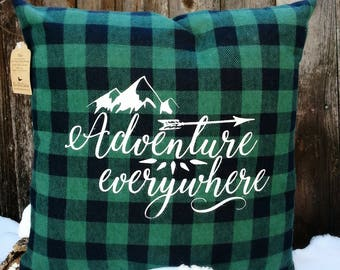 Flannel Pillow Cover, Plaid Pillow Cover, Cabin Pillow, Camping Gift, Adventure Gift, Cabin Gift, Screened cover, Camp Pillow, Camper Gift