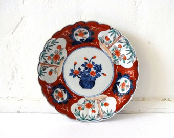 Antique Vintage 19th-C / Nineteenth-Centjury / 1800s Japanese Imari Rust and Cobalt Blue Scalloped Plate