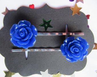 Royal Blue Rose Vintage Hair Bobby Pins