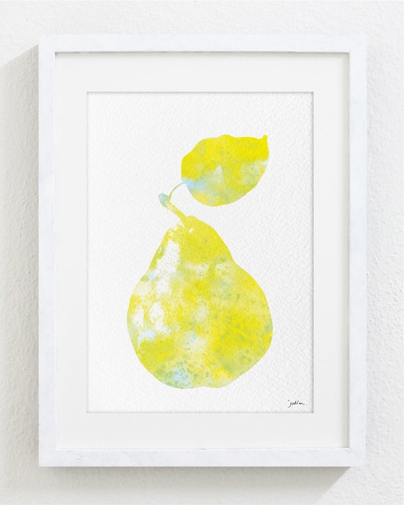 Yellow Pear Watercolor Print 5x7 Archival Print Pear