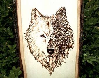 Wood-burned wall art -WOLF