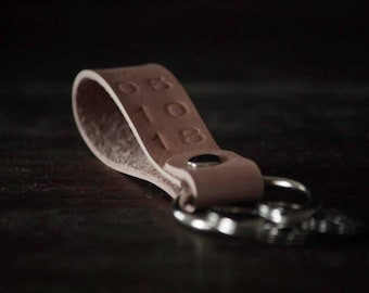 Vegetable tan leather personalized key fob/ key chain/ key ring