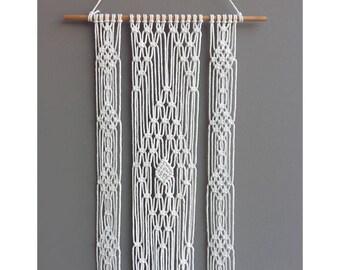 3 Stripes Macrame Wall Hanging, Cotton Knots