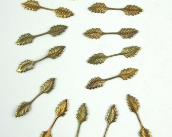 14 pcs brass leaves stampings bail findging