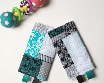 Drool Pads // Lillebaby Beco Ergo Tula SSC Baby Carriers // Black Teal Quilt Patchwork
