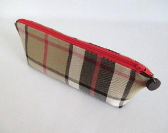 Pencil Case Thompson Tartan Plaid Zipper Beige Red Black