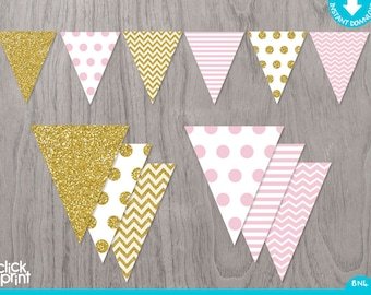 Pink and Gold Printable Birthday Banner, Printable Pink and Gold Glitter Banner, Girl Baby Shower or Girl Birthday Birthday Banner
