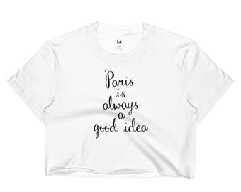 paris is always a good idea black and white minimal graphic crop top for women