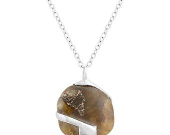 heated labradorite pendant rounded square shape