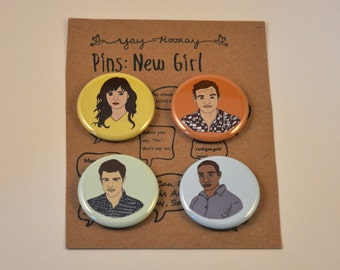 New Girl Cast, pin button badges, magnets hand drawn illustrations