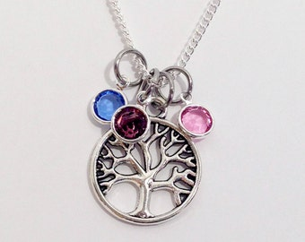 Family Tree Necklace Mom Necklace Birthstone Mom Necklace Mom Gift Mom Birthstone Necklace Tree of Life Necklace Mothers Day Gifts for Mom