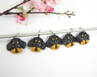 Wire Haired Dachshund dog stitch markers, Dachshund gifts charms polymer clay knitting accessories dog charm pet gift knit knitters doxie