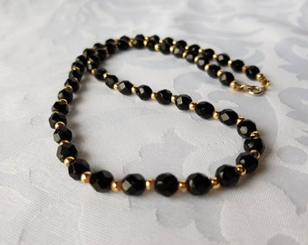 Black Glass Beaded Necklace, Black Glass Bead Necklace, Black and Gold Necklace, Black and Gold, Necklace