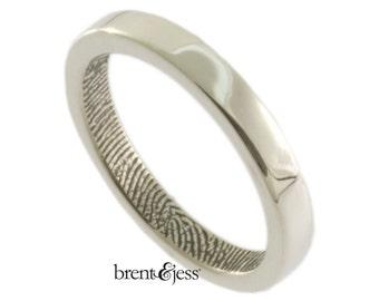 Narrow Fingerprint Ring, Custom Wedding Band, Commitment Ring, or Anniversary Band