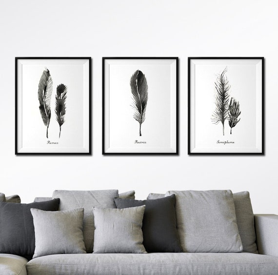 Black And White Paintings For Bedroom Bedroom Sets Black Modern Bedroom Black Bedroom Furniture Sets Pictures: Feather Wall Art Watercolor Art Living Room Wall Art Set Of 3