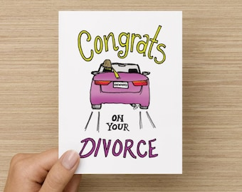 Congrats on Your Divorce Supportive Thinking of You Encouragement Recycled Paper Folded Greeting Card