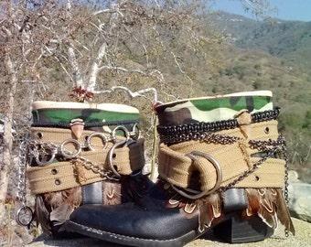 Upcycled Cowboy Boho Boots- Custom Vintage Repurposed-NorCal