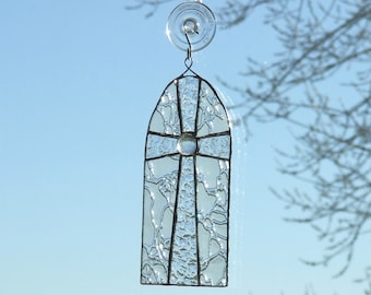 Clear Textured Stained Glass Cross Window Hanging Suncatcher