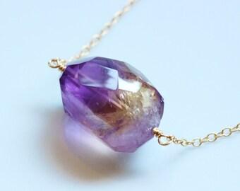 Huge Ametrine Charm Solitaire Nugget Necklace, 14k Gold Filled, Adjustable, Gemstone Necklace, February Birthstone