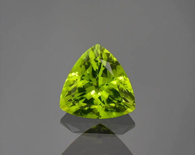 Gorgeous Lime Green Peridot Trillion Gemstone from Ethiopia 2.61 cts.