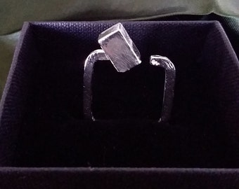 Contemporary handmade sterling silver square-shank cube ring