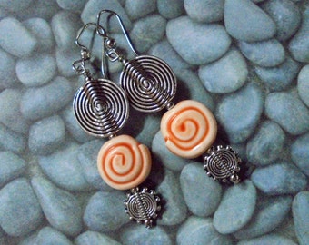 Orange and Silver Sprial Earrings (2885)