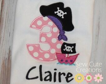 Pirate Birthday Shirt, Girl Pirate Shirt, Boy Pirate shirt, Girl Birthday Pirate shirt, Boy Pirate birthday shirt, sew cute creations