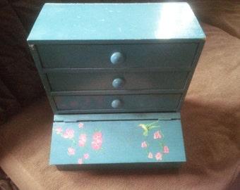 Vintage Wood Organizer or Wood Desk Top Organizer - Three Drawer Organizer - Sewing Storage - Organizer - Dresser Organizer ###REDUCED###