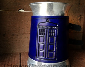 Leather Wrapped Police Box mug by Crimson Chain leatherworks