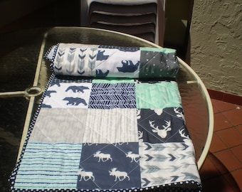 Baby Quilt, baby deer quilt, Baby Boy Bedding, Baby Girl Quilt, crib, rustic, Woodland, mint, grey, navy, Bear, Moose, Arrow- And Bullwinkle