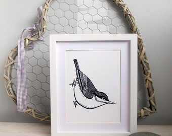 Nuthatch bird A5 Black and white print