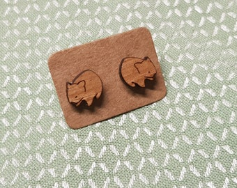Wombat earrings, laser cut wood