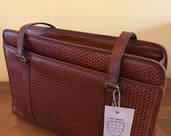 Vintage braided style leather brief case