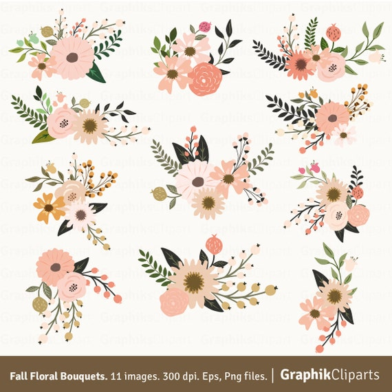 fall floral bouquets clipart floral clipart vector flowers rh etsy com floral clipart free cco floral clipart for banners